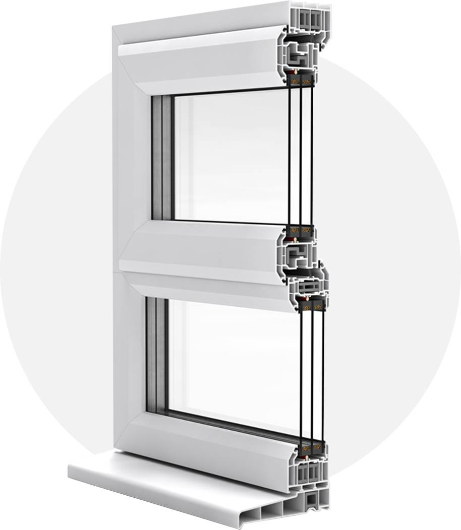 Cross section of a-rated uPVC casement window