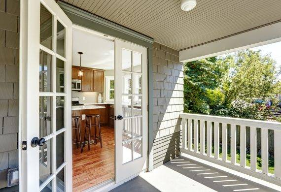Open White French Doors